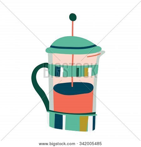 Utensil For Brewing Coffee By Steeping, Vector Art, Isolated Colorful Illustration Of French Press P