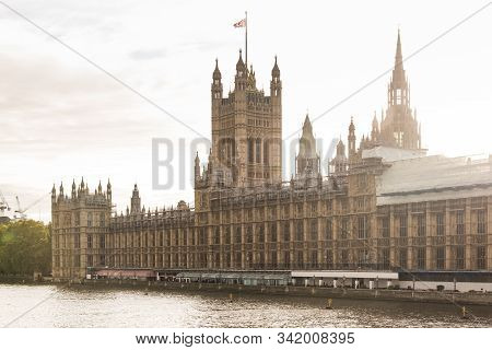 The Palace Of Westminster View By Sunset In London, Uk