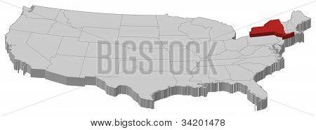 Karta över USA, New York belyst