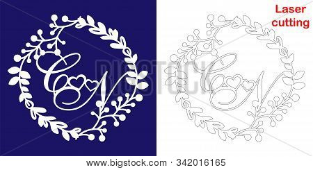 Wedding Monogram For Laser Cutting. C N Initials Of The Wedding Decorative Logo In A Floral Frame. T