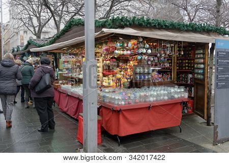 Budapest, Hungary - December 09 2019: Open Air Christmas Market With Crowd At Deak Ferenc Square. Da