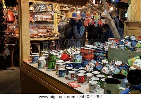 Budapest, Hungary - December 07 2019: Open Air Market With Crowd At Deak Ferenc Square. Night View O