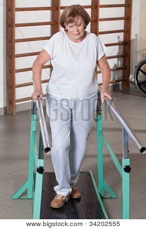 Portrait of mature woman having ambulatory therapy.