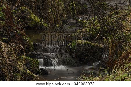 Upper Watercourse Of Bilina River In Krusne Hory Mountains In Winter Day