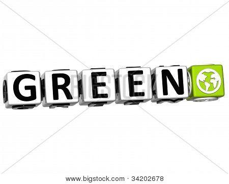 3D Green Button Click Here Block Text