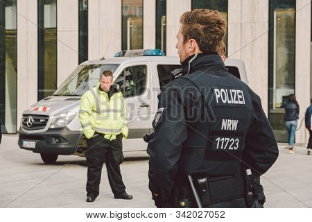 German Police Officer. Riot Police Germany. Police Patrolling In Dusseldorf October 27, 2018. German