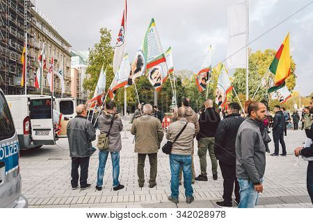 Muslims Manifestation October 27, 2018 Germany, Dusseldorf. Political Protest In Streets. Migrants P