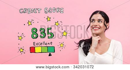 Excellent Credit Score Theme With Young Woman In Thoughtful Pose