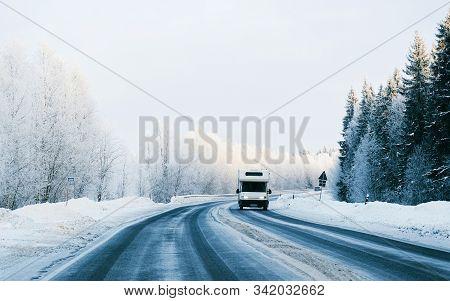 Caravan In A Road Winter Rovaniemi Reflex