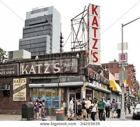 NEW YORK CITY, USA - JUNE 11: Katz's Delicatessen (est. 1888), a famous restaurant, known for its Pastrami sandwiches, located at 205 E. Houston Street. June 11, 2012 in New York City, USA