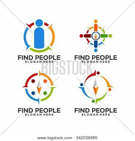 Set Compass Symbol Find People Logo Template Designs Vector Illustration