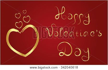 Happy Valentine's Day Love Greeting Card With Gold On Red Background. Stock Vector Illustration.
