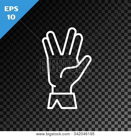 White Line Vulcan Salute Icon Isolated On Transparent Dark Background. Hand With Vulcan Greet. Spock