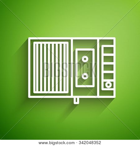 White Line Music Tape Player Icon Isolated On Green Background. Portable Music Device. Vector Illust