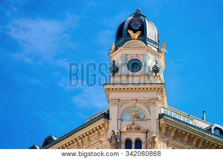 Clock Tower On Graben Street In Vienna