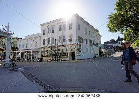 Mackinac Island, Michigan / United States - June 11, 2018: One May Purchase Fresh Groceries At Douds