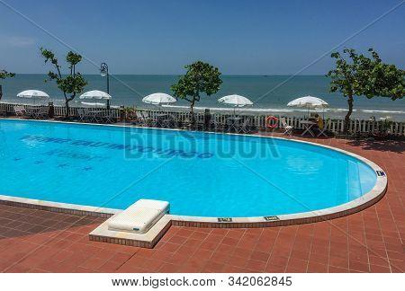 Vung Tau, Vietnam - May 28, 2015. Swimming Pool Of Luxury Resort In Vung Tau, Vietnam. Vung Tau Is A