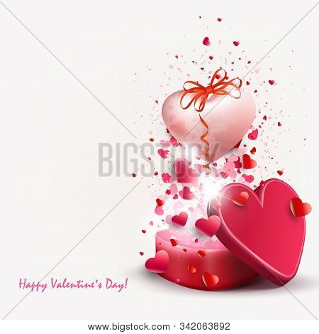 Light Illustration With A Red Casket And A Pink Light Heart With A Bow
