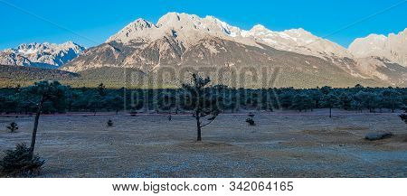 Beautiful Of Jade Dragon Snow Mountain Or Yulong In Chinese Language, Landmark And Popular Spot For