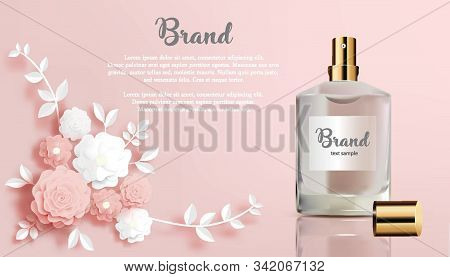 Perfume In Spray Bottle- Rose And White Flowers On Peach Background-perfume In Flower Paper Cut Bann