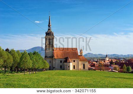 Saint Bartholomew Parish Church And Scenery In Slovenska Bistrica Slovenia