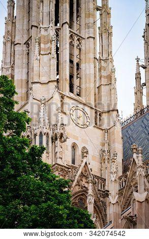 Clock Of Votivkirche Votive Church In Vienna Of Austria