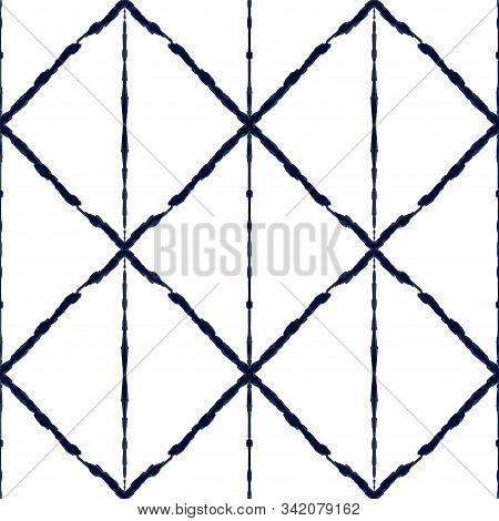 Blue Strip Vector Seamless Pattern. Cobalt Fashion Tile Navajo Background. Azure Batik Drawn Ornamen