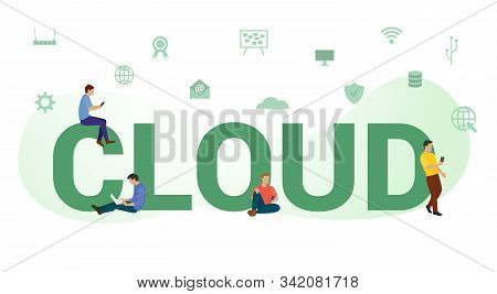 Cloud Technology Concept With Big Word Or Text And Team People With Modern Flat Style - Vector Illus