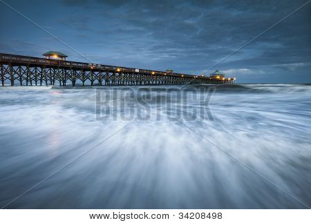 Moonlight Folly Beach Pier Charleston SC East Coast Atlantic Ocean landscape scenic photography and vacation destination poster