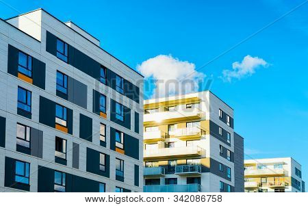 Apartment Houses Homes Residential Buildings Complex Real Estate Copy Space Reflex