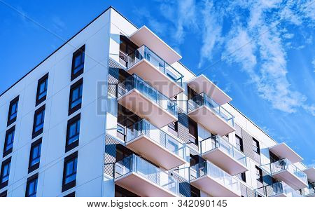 White Color Apartment Home House Residential Building Complex Real Estate Reflex
