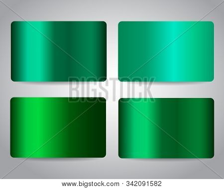 Gift Cards Or Discount Cards Or Credit Cards Set With Emerald Green Design Background