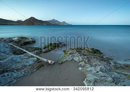 Sunset Landscape On Los Genoveses Beach. San Jose. Natural Park Of Cabo De Gata. Spain.