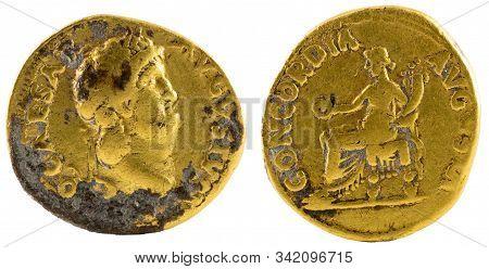 Ancient Roman Gold Aureus Coin Of Emperor Nero.
