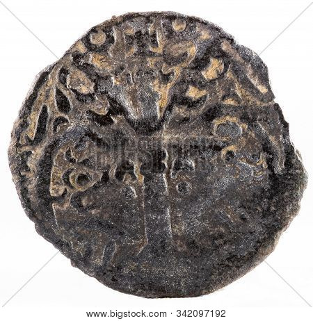 Ancient Medieval Fleece Coin Of The King Alfonso Ix. Dinero. Spain. Reverse.