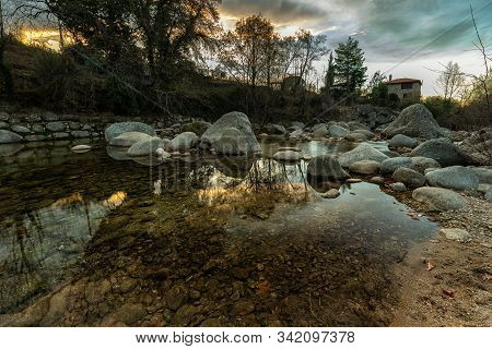 Garganta Jaranda. Landscape At Sunrise Near Jarandilla De La Vera, Caceres. Extremadura. Spain.