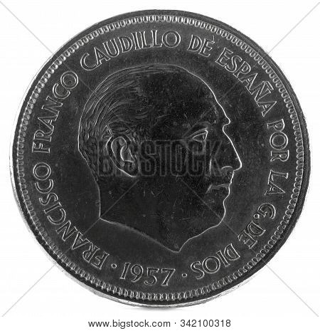 Old Spanish Coin Of 25 Pesetas, Francisco Franco. Year 1957, 70 In The Star. Obverse.