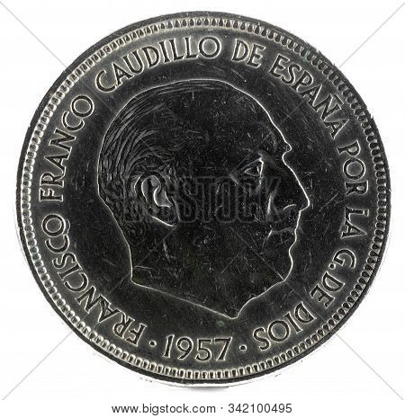 Old Spanish Coin Of 50 Pesetas, Francisco Franco. Year 1957, 59 In The Star. Obverse.