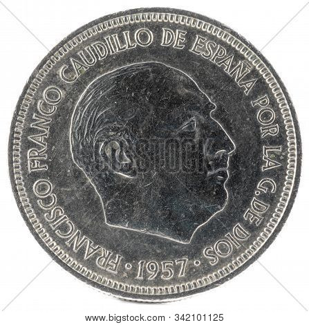 Old Spanish Coin Of 5 Pesetas, Francisco Franco. Year 1957, 72 In The Star. Obverse.