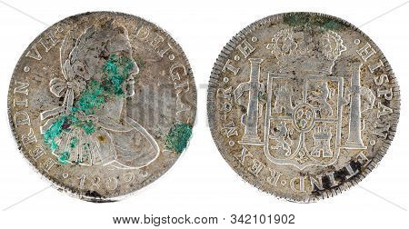 Ancient Spanish Silver Coin Of The King Fernando Vii. 1809. Coined In Mexico. 8 Reales.
