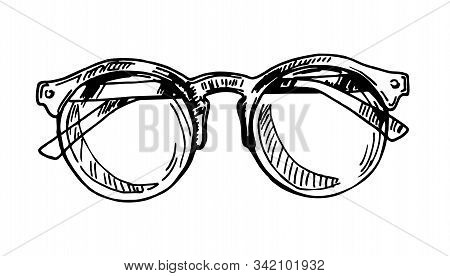 Glasses Corrective Vision Accessory Ink Vector. Optical Diopter Glasses For Reading And Good Eyesigh