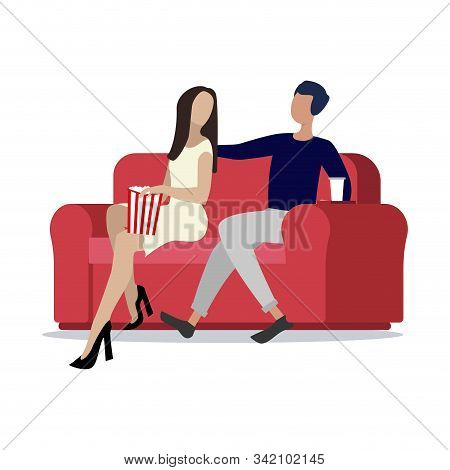 Couple With Popcorn Sitting In Cinema. Popcorn Cinema Movie, Spectator And Cinematography, Entertain