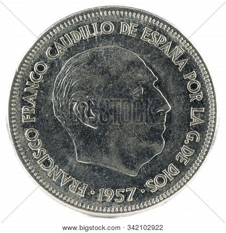 Old Spanish Coin Of 25 Pesetas, Francisco Franco. Year 1957, 75 In The Star. Obverse.