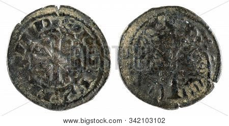 Ancient Medieval Fleece Coin Of The King Alfonso Ix. Obolo. Spain.