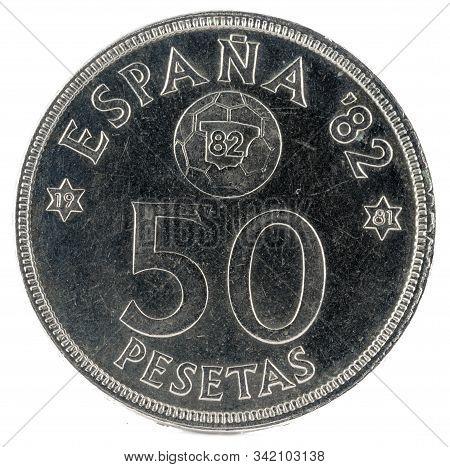 Old Spanish Coin Of 50 Pesetas, Juan Carlos I. Year 1980.  19 81 In The Stars. España 92. Reverse.