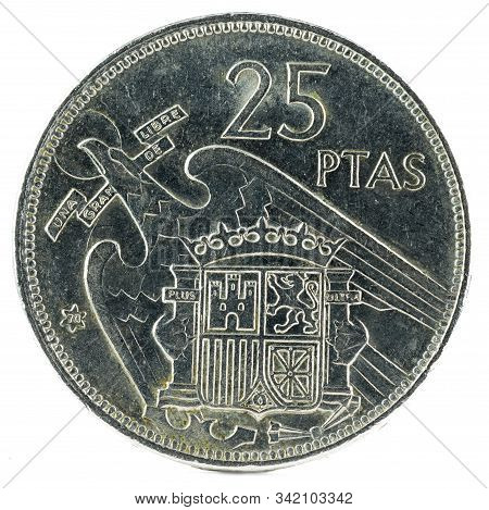 Old Spanish Coin Of 25 Pesetas, Francisco Franco. Year 1957, 70 In The Star. Reverse.