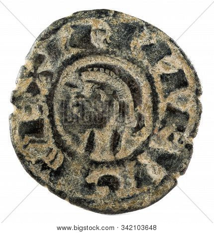 Ancient Medieval Fleece Coin Of The King Alfonso Viii. Dinero. Coined In Toledo. Spain. Obverse.