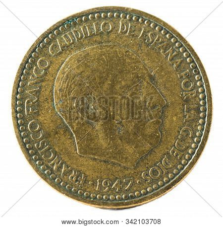 Old Spanish Coin Of 1 Peseta, Francisco Franco. Year 1947, 19 51 In The Stars. Obverse.