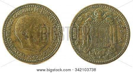 Old Spanish Coin Of 1 Peseta, Francisco Franco. Year 1947, 19 51 In The Stars.