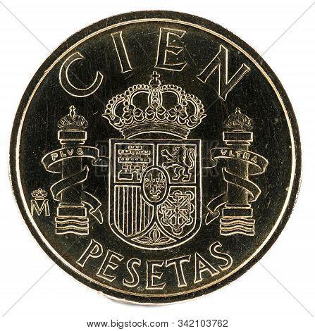 Old Spanish Coin Of 100 Pesetas, Juan Carlos I. Year 1982. Reverse.